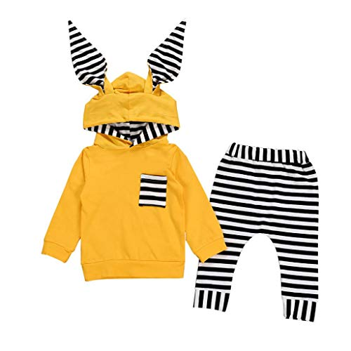 Baby Autumn Striped Sets,Jchen(TM) Newborn Toddler Infant Baby Boy Girl Long Sleeve 3D Bunny Ear Striped Hooded Tops Pants Outfits for 0-24 Months (Age: 0-6 Months, Yellow) ()