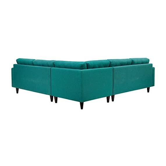 Modway Empress Mid-Century Modern Upholstered Fabric Sectional Sofa Set In Teal - CONTEMPORARY STYLE - The roomy depth and iconic look of Empress showcase mid-century modern design. Boasting tailored lines and a hopeful style, this piece embodies retro intrigue and sophistication. FINE UPHOLSTERY - Upholstered in quality polyester, Empress emboldens décor with a design worth remembering. This distinctive collection makes for a striking statement brimming with possibility. MODERN LOUNGE SPOT - A cherished tufted button seat for lounge spaces of all types, Empress provides an elegant place to rest when delving deep into conversation or sipping a steaming cup of tea. - sofas-couches, living-room-furniture, living-room - 41jppWoi1RL. SS570  -