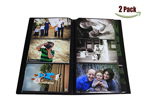 Portfolio Photo Album Holds 500 Pictures - 4x6 / Space Saver with Protective Poly Case and Advanced Capacity, Set of 2!