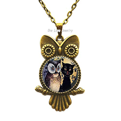 - Ni36uo0qitian0ozaap Owl and cat Photo Pendant Owl Necklace or Key Chain Altered Art Jewelry Glass Pendant Fall, TAP400
