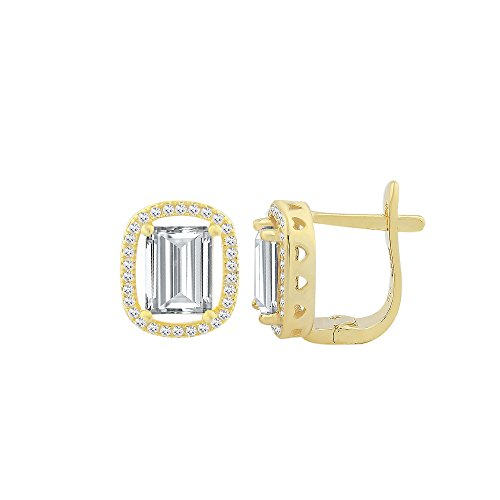 Sterling Silver Cubic Zirconia Elegant Rectangular Shape Leverback Earring With Center CZ Colored Stone Stud (Clear, (Circular Cubic Zirconia Earrings)