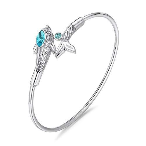 KOAEM Silver 3D Dolphin Bracelet Elegant Green/Blue/Pink Crystal Spring Bangle Gift for Friend Sister Mom Wife Daughter