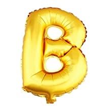 """aiParty 16 inch Gold letters """"B"""" shaped Helium foil balloons for Bridal Wedding Celebration Birthday party decoration supplies"""