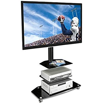 """Mount-It! Mobile TV Stand - with Rolling Casters & Three-Tiered Glass Shelving - Fits 32""""-60"""" Displays"""