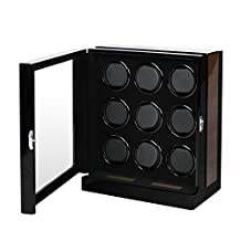 OLYMBROS Wooden Automatic Watch Winder Storage Box with LCD Touch Screen for 9 Watches
