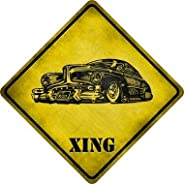 Classic Hot Rod Xing Novelty Metal Crossing Sign (with Sticky Notes)