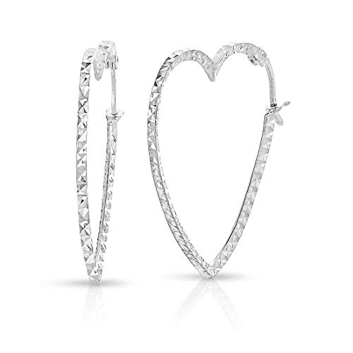 Sterling Silver Heart Earrings Shape (Sterling Silver Diamond-cut Heart Shape Hoop Earrings, 1 Inch Diameter)