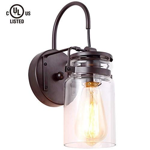 Homiforce Vintage Style 1-Light Sconce Light with Super-Thick Glass Shade Simplicity Industrial Retro Edison Fixture in Antique Bronze Finish (Stephan Bronze)