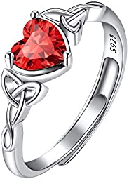 925 Sterling Silver Good Luck Celtic Trinity Knot/Claddagh Heart Birthstone Ring, Thin Delicate Adjustable Pro