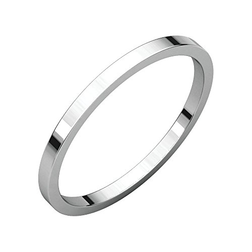Gold 1.5 Mm Flat - Jewels By Lux 14K White Gold 1.5mm Flat Wedding Ring Band Size 9