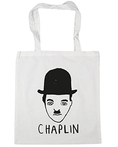 Hippowarehouse Drawing Chaplin Beach Bag With Handles Shopping Bag 42cm X 38cm For Fitness White 10 Liters Capacity