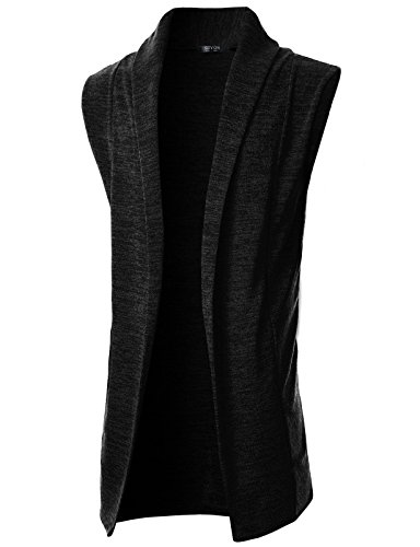 GIVON Mens Sleeveless Draped Open Front Shawl Collar Knitted Long Vest/DCC031-BLACK-L