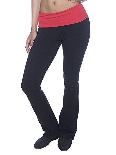 (Slimming Foldover Bootleg Flare Comfy Comfortable Yoga Pants (Small, Black&Red Waist))
