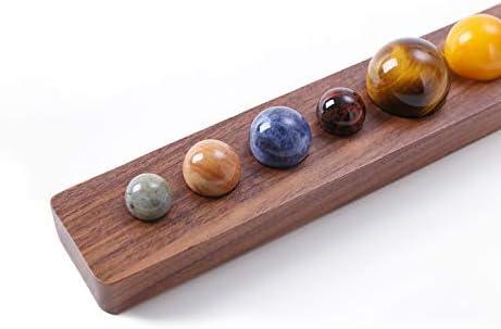 Zhi Jin - Juego de 8 Piedras Preciosas Naturales Diferentes Planetas Manualidades con Bandeja de Nogal Negro Hecha a Mano Regalo Decorativo