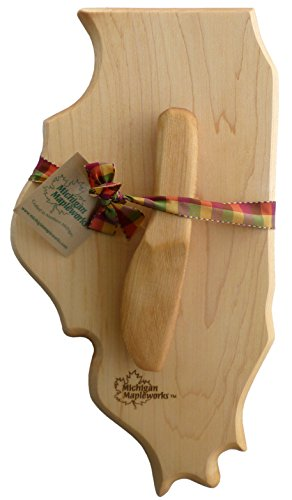 Illinois Shaped Small Maple Cutting Cheese Board Gift Set with Cherry Wood Spreader Michigan Mapleworks