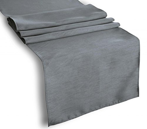 "Creative 13""x 36"" Classic Solid Faux Silk Table Runner - Charcoal"