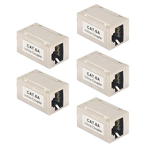 VCE 5 Pack RJ45 Shielded Metal CAT6A Female to Female in-Line Coupler