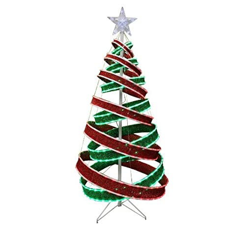 Outdoor Christmas Ribbon.Holiday Living Spiral Ribbon Tree With Led Lights Outdoor