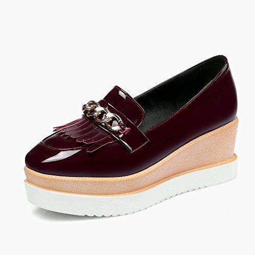 Wine Red Women Comfort Low Square Heels Pumps
