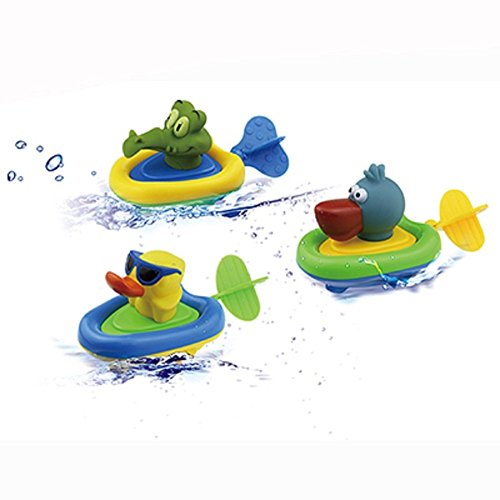 YOSWAN Amphibious Pull and Go Car Playset Bathing Soft Rubber Duck Crocodile Pelican Animal Swimming Bathtime Fun Bath Tub Toys for Boys Girls Toddlers (Duck+Crocodile+Pelican)