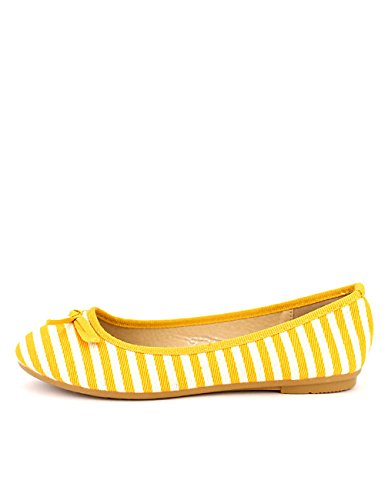 Femme Chaussures BIK Cendriyon Rayures Ballerine Yellow ZqxwZCX8
