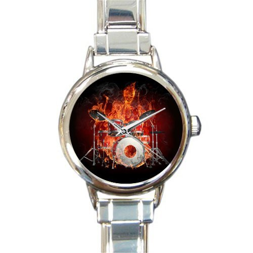 Drum Italian Charm (New Year/Christmas Discount Gifts Flaming Skull Playing Drum Round Italian Charm Watch)