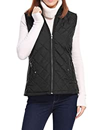 Allegra K Women's Front Zip Up Stand Collar Mock Pockets Quilted Padded Vest
