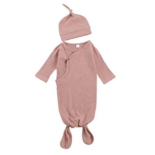 LUCSUN Unisex Pasgeboren Baby Katoenen Toga's Lange Mouw Geknoopte Sleeper Nachtjapon Hoed voor Baby Jongen en Meisje…