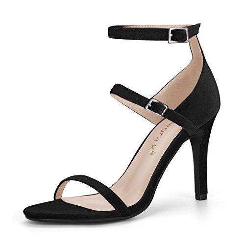 Allegra K Women's Triple Strap Stiletto Heel Black Sandals - 5 M - High Inch Stiletto 5 3/4 Heel