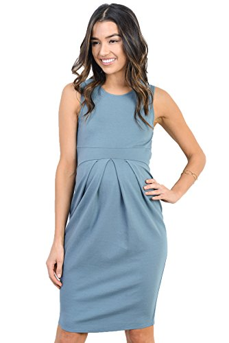 - LaClef Women's Knee Length Midi Maternity Dress with Front Pleat (X-Large, Turquoise)