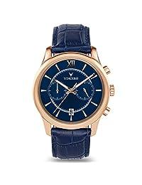 Vincero - Reloj de pulsera para hombre con correa de piel, cronógrafo de 43 mm, movimiento de cuarzo japonés, Oro rosa/Azul, 43mm