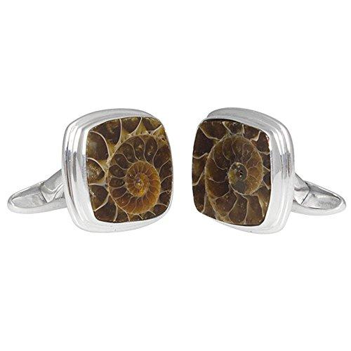 Starborn Sterling Silver cushion cut Fossilized Ammonite Cuff Links