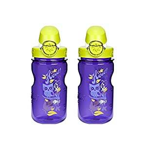 Nalgene OTF Kids / Children's, Hoot 12oz Water Bottle - Purple with Green and White Cap - 2 Pack 3 Inches in Diameter By 7.5 Inches Tall.