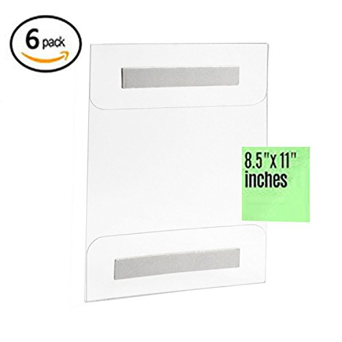 PREMIUM 6 Pack of Wall Mount 8.5 X 11 or 11 X 8.5 Acrylic Sign Holder with Strong Adhesive, No Drilling, Easy To Install, Vertical and Horizontal (Vertical Acrylic)