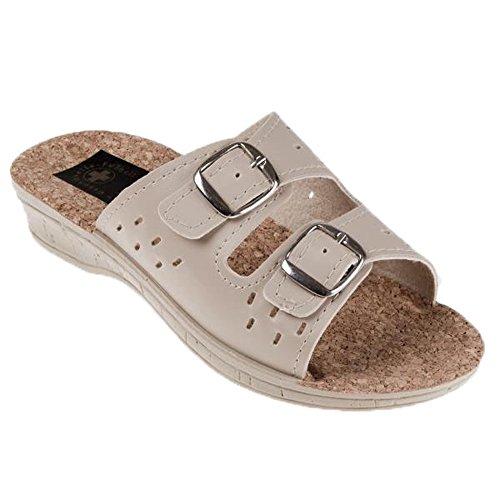 Buyazzo - Sandalias de vestir para mujer Beige Kork 0115K1