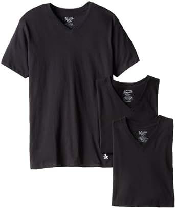 Original Penguin Men's 3 Pack V-neck T-shirt, black, Small