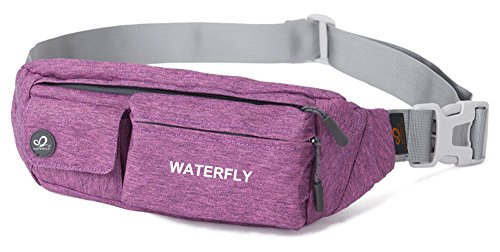 WATERFLY Slim Soft Polyester Water Resistant Waist Bag Pack for Man Women Outdoors Running Climbing Carrying Iphone 5 6 Plus Samsung S5 S6