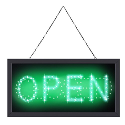 Opuko LED Neon Open Sign for Business, 2 in 1 Open Closed Signs Advertisement Board Electric Display Sign for Cafe Bar Pub Coffee Store Wall Window, Two Modes Flashing & Steady Light