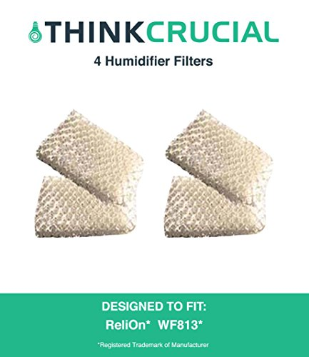 4 Premium ReliOn WF813 2-Pack Humidifier Wicking Filters, Fits ReliOn RCM832 (RCM-832) RCM-832N, DH-832 and DH-830 Humidifers, Compare To Part # WF813, by Think Crucial