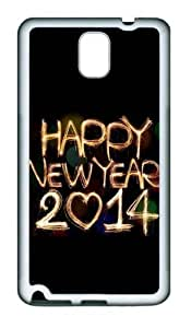 2015 Happy New Year Light Painting Bokeh Hard Custom For SamSung Galaxy S5 Case Cover andWhite