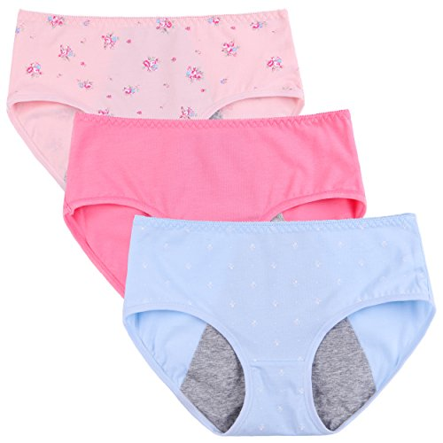Innersy Big Girls' 3 Pack Mid Cut Flower Print Super Cute Menstrual Period Protective Cotton Panties Underwear(L, Waist Tighten (Sanitary Pants Replacement Pads)