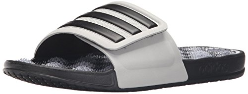 adidas Men's Adissage 2.0 Stripes Athletic Sandal, Clear Onix Black, 13 M US