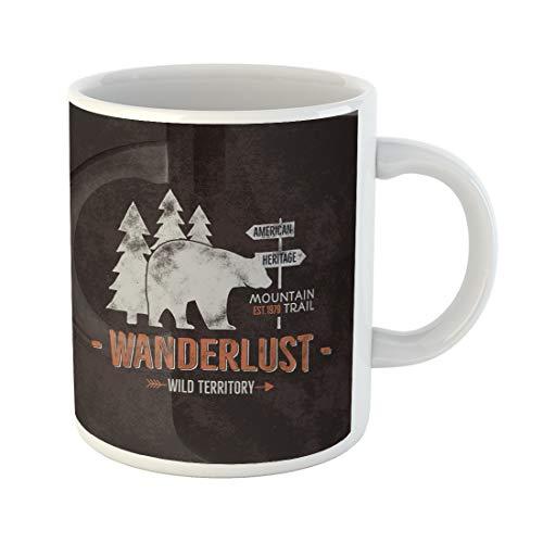 Semtomn Funny Coffee Mug Vintage Wild Emblem Retro of Wilderness and Rough Badge Letterpress 11 Oz Ceramic Coffee Mugs Tea Cup Best Gift Or -