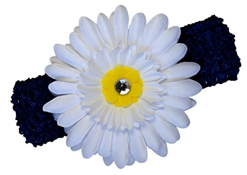 Gerber Daisy Baby Headband Funny Girl Designs (Navy Blue Band / White & Yellow Daisy)