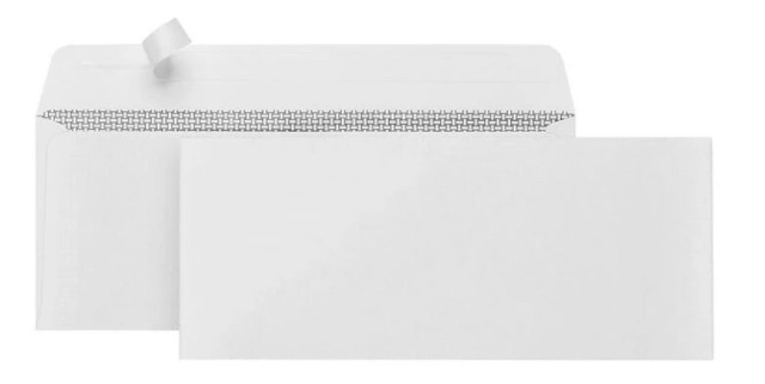 No. 10 Security Tinted Quick Seal White envelopes (41/8 by 91/2), for Home and Office use, windowless Design, 500/box