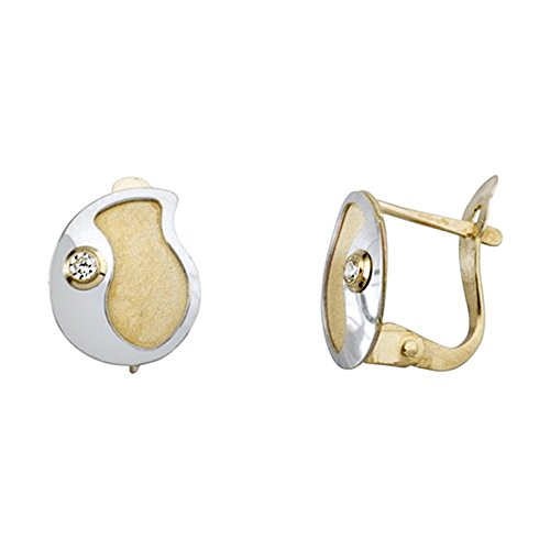 Boucled'oreille or 18k plaque de zircone cubique bicolor [AA6368]