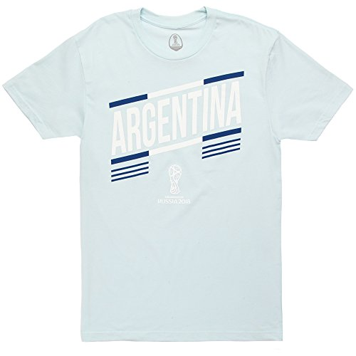Fifth Sun World Cup 2018 Argentina Slanted Adult T-Shirt - Light Blue (Small)