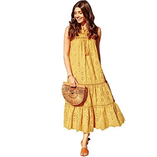 - Chicwish Women's Boho Mustard Yellow Flower Floral Boho Embroideried Eyelet Maxi Dress