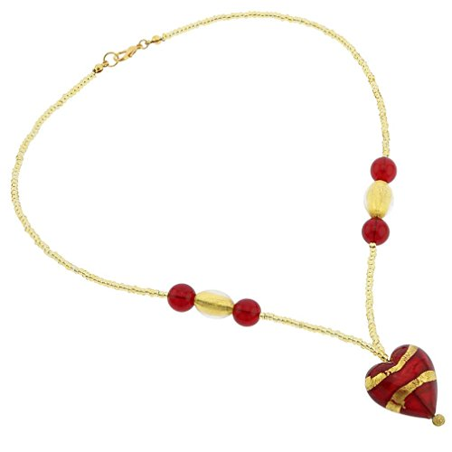 GlassOfVenice Murano Glass Heart Necklace - Gold and Red ()