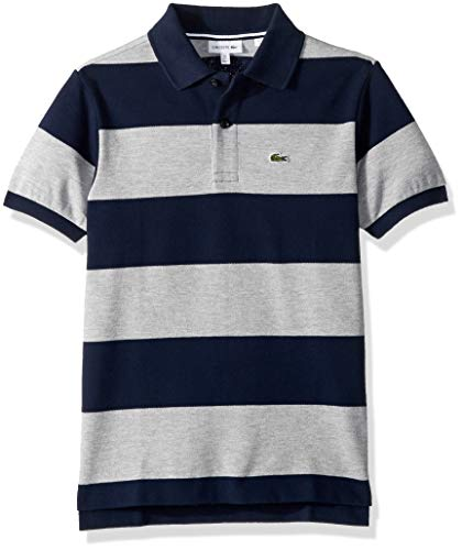 Lacoste Big Boy Short Sleeve Bicolor Striped Pique Polo, Navy Blue/PLUVIER Chine, 8